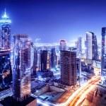 Dubai downtown night scene, UAE, beautiful modern ...