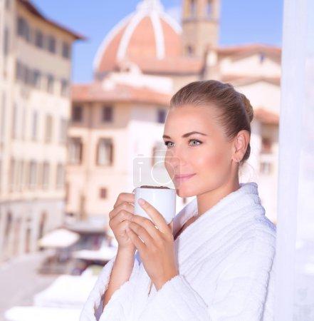 Enjoying morning coffee in Italy