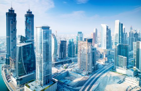Photo for Beautiful Dubai city, bird eye view on majestic cityscape with modern new buildings, daytime panoramic scene, United Arab Emirates - Royalty Free Image