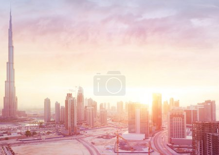 Beautiful sunset over Dubai city