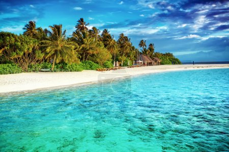 Photo for Beautiful paradise beach, luxury tropical resort, turquoise transparent sea around the island with fresh green palm trees on the coast, summer vacation on Maldives, Asia - Royalty Free Image