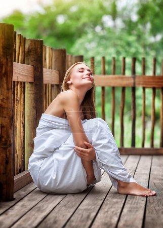 Sensual woman on spa resort