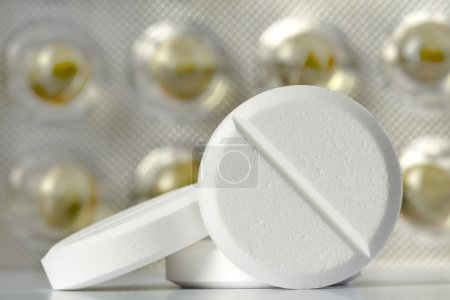 Photo for Medications prepared for use at home or in hospital in the form of pills - Royalty Free Image