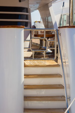 Stairs to a modern yacht