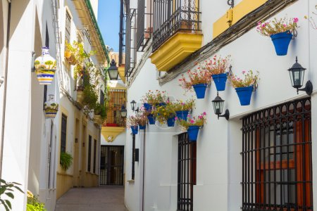 Streets decorated with flowers and barred windows typical of the