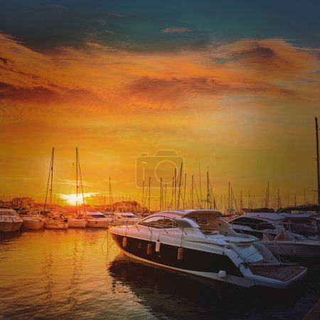 Denia sunset in Marina boats Mediterranean Spain