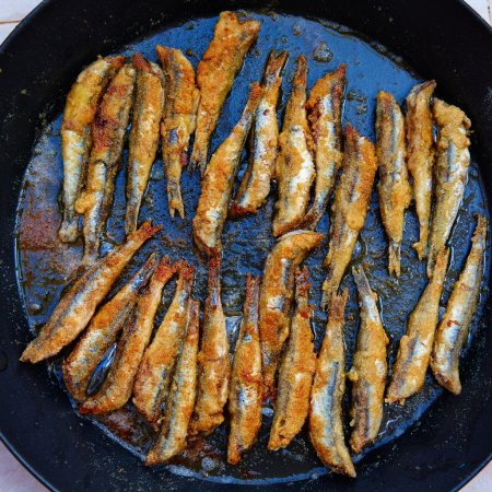 Photo for Boquerones fritos fried anchovies from Mediterranean Spain - Royalty Free Image