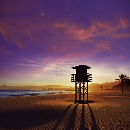 Photo for Cullera Playa los Olivos beach sunset in Mediterranean Valencia at Spain - Royalty Free Image
