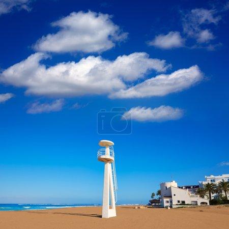 Denia beach Las Marinas baywatch tower in El Moli