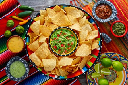 Nachos with guacamole tortilla chips sombrero