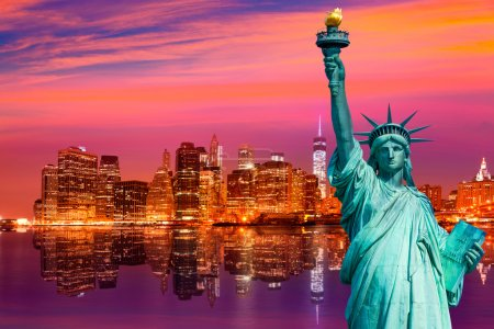 Photo for Liberty Statue and New York skyline American Symbols USA photomount - Royalty Free Image