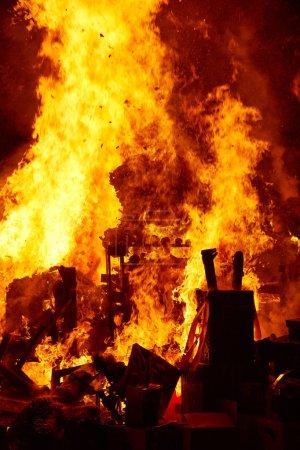 Fallas popular fest burning cartoon figures