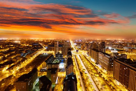 Valencia skyline at sunset aerial in Spain