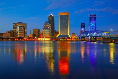 Photo for Jacksonville skyline sunset river reflection in Florida USA - Royalty Free Image
