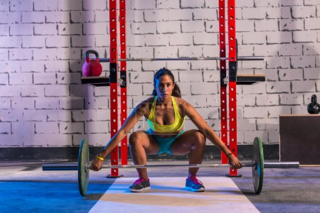 Photo for Barbell weight lifting woman weightlifting workout exercise gym - Royalty Free Image