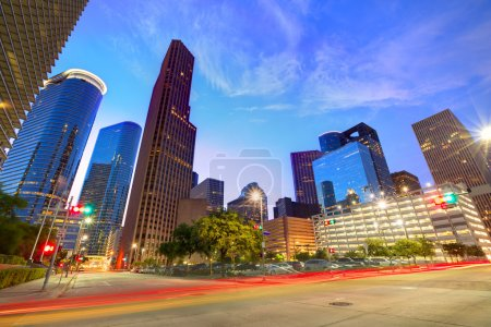 Photo for Houston Downtown skyline at sunset from south in Texas US USA - Royalty Free Image