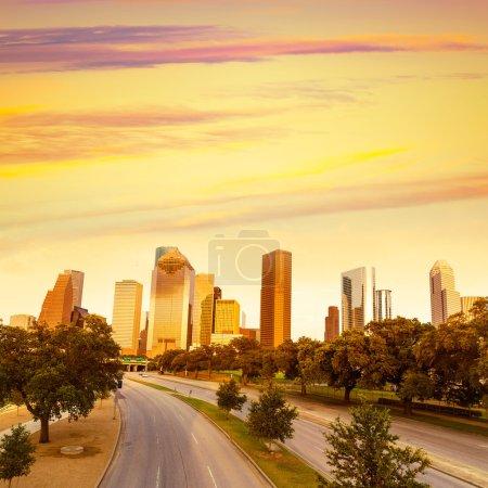 Houston skyline sunset from Allen Pkwy Texas US