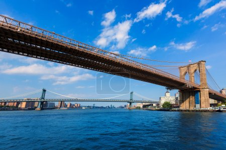 Brooklyn and Manhattan bridges East River NY