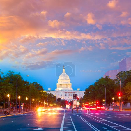 Capitol sunset Pennsylvania Ave Washington DC