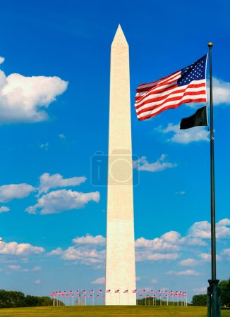 Washington Monument and flags in DC USA