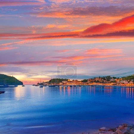 Port de Soller sunset in Majorca at Balearic island