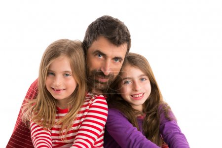 Foto de Happy family beard father and two kid daughters blue eyes on white background - Imagen libre de derechos