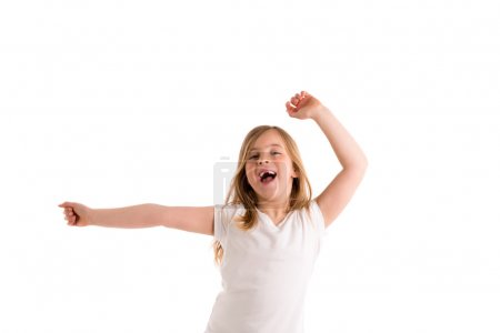 Foto de Blond kid girl indented jumping high wind on hair at white background - Imagen libre de derechos