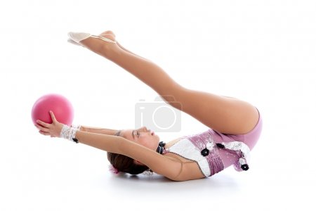 Kid girl ball rhythmic gymnastics exercise on white