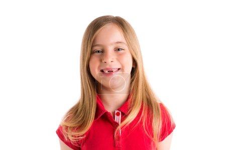 Photo pour Blond indenté fille sourire expression geste en fond blanc - image libre de droit