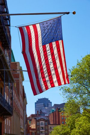 Photo for American flag in Boston downtown Massachusetts USA - Royalty Free Image
