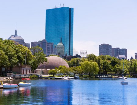 Photo for Boston sailboats of Charles River at The Esplanade in Massachusetts USA - Royalty Free Image