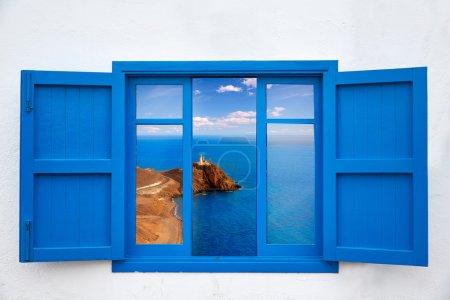 Almeria from window of Cabo de Gata lighthouse