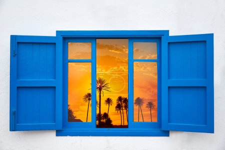 Almeria from window Cabo de Gata palm sunset
