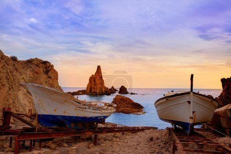 Almeria Cabo de Gata las Sirenas sunset rocks in M...