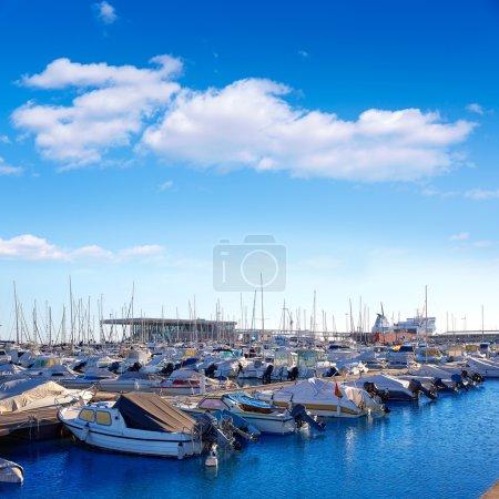 Denia marina port in Alicante Spain with boats
