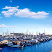 Denia marina port in Alicante Spain with boats