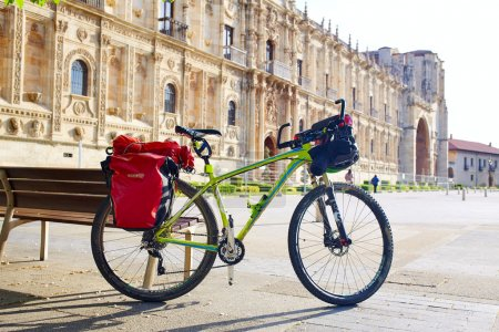 San Marcos in Leon bike at Way of Saint James