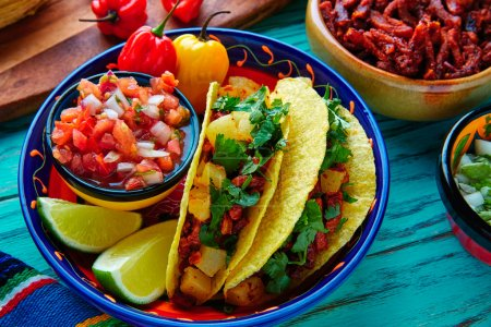 Tacos al pastor Mexican with coriander pineapple