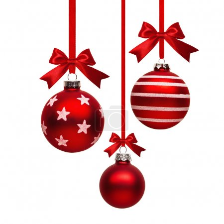 Christmas red balls with bow