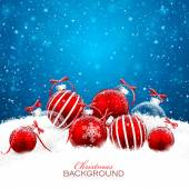Christmas decorations with red balls Vector illustration