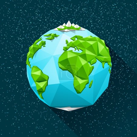 Illustration for Planet Earth low poly. Vector polygonal illustration - Royalty Free Image
