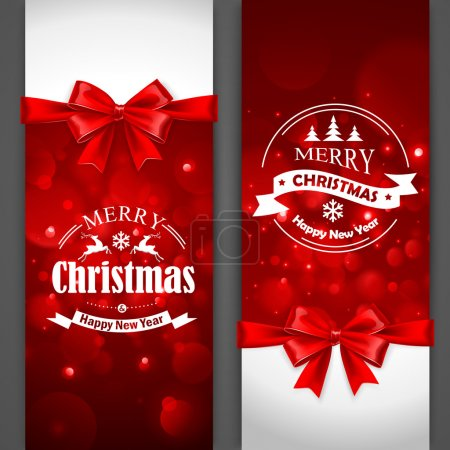 Illustration for Christmas cards with red bows on gray background.Vector Illustration - Royalty Free Image