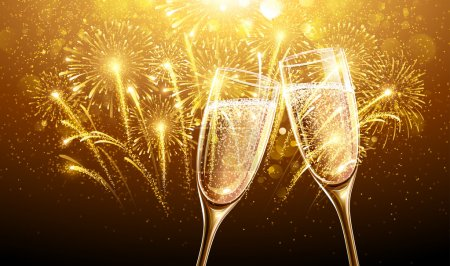 Illustration pour Feux d'artifice du Nouvel An et verres à champagne. Vecteur - image libre de droit