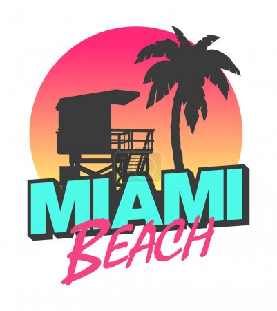 Colorful symbol of Miami beach with the famous hou...