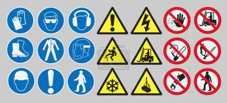 Vector pack of different work safety signs...