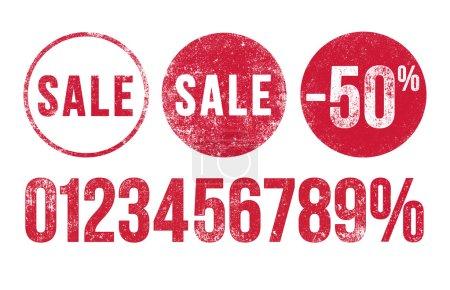 Illustration pour Illustration vectorielle de timbres de vente d'encre rouge modifiables - image libre de droit