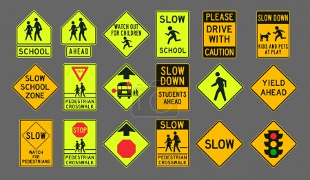 Illustration for Vector illustration of differents Pedestrians road signs - Royalty Free Image