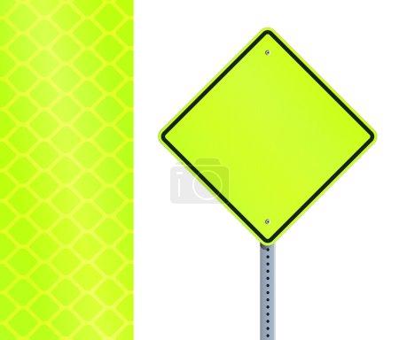 Illustration pour Illustration vectorielle du panneau de signalisation fluorescent jaune vide - image libre de droit