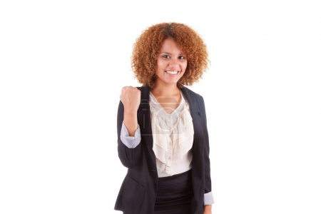 Portrait of a young african american business woman with clenche