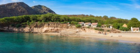 Panoramic view of Tarrafal beach in Santiago island in Cape Verd